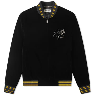 Saint Laurent Velvet Radio Embroidered Varsity Jacket