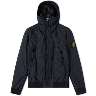 Stone Island Garment Dyed Crinkle Reps NY Piping Hooded Jacket