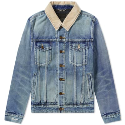 Saint Laurent Corduroy Collar Denim Jacket