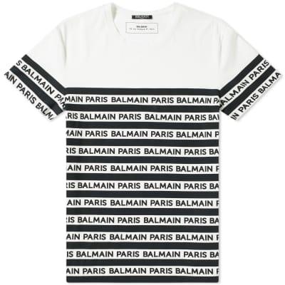 Balmain Multi Logo Stripe Tee