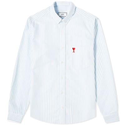 AMI Heart Logo Stripe Oxford Shirt