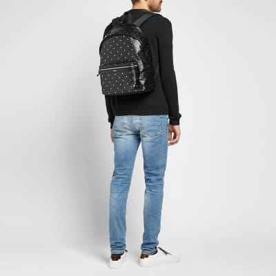Saint Laurent Silver Star Leather City Backpack
