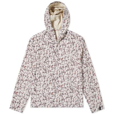 Lanvin Cracked Paint Print Hooded Jacket