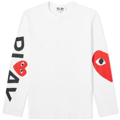 Comme des Garcons Play Long Sleeve Arm Logo & Heart Tee