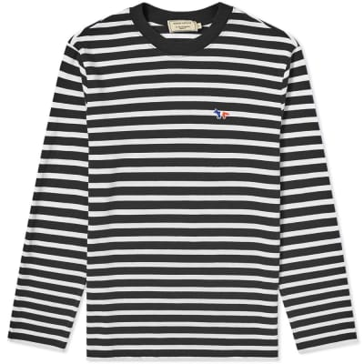 Maison Kitsuné Long Sleeve Tricolour Fox Stripe Tee