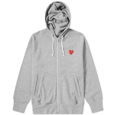 Comme des Garcons Play Red Heart Full Zip Back Print Hoody