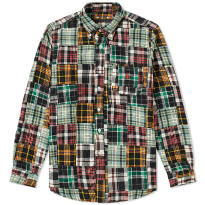 SOPHNET. Patchwork Flannel Check Shirt