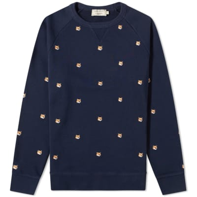 Maison Kitsuné All-Over Fox Head Embroidery Crew Sweat