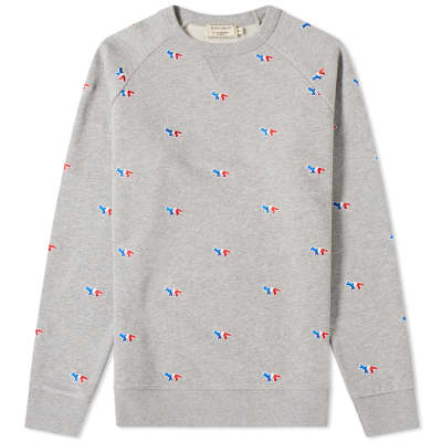 Maison Kitsuné All-Over Tricolour Fox Embroidery Crew Sweat