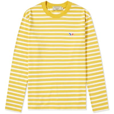 Maison Kitsuné Long Sleeve Stripe Tricolour Fox Patch Tee