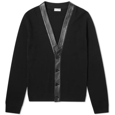 Saint Laurent Cashmere Leather Detail Cardigan