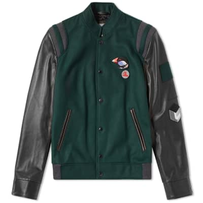 Lanvin Menton & Leather Varsity Jacket