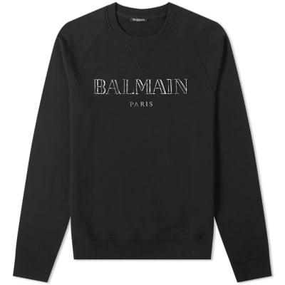 Balmain Metalic Paris Logo Crew Sweat