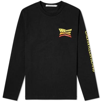 Calvin Klein Long Sleeve Modernist Flag Print Tee