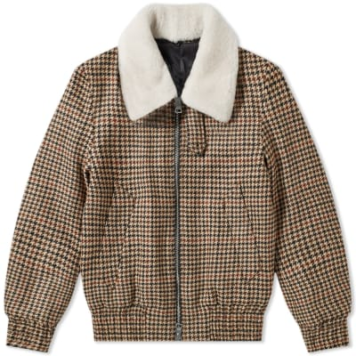 AMI Checked Sherpa Collar Jacket