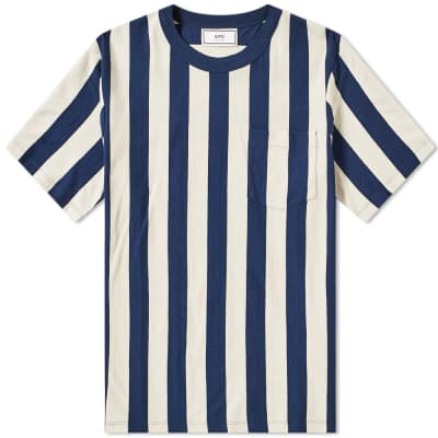 AMI Vertical Stripe Pocket Tee