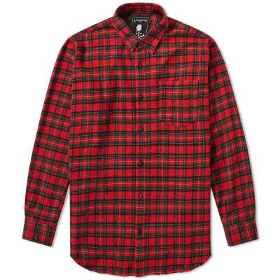 MASTERMIND WORLD Damaged Skull Check Flannel Shirt