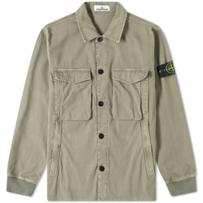 Stone Island Garment Dyed Stretch Zip Overshirt