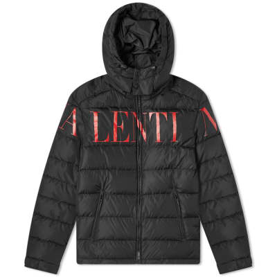 Valentino Logo Print Hooded Down Jacket