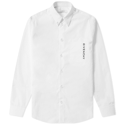 Givenchy Vertical Logo Embroidered Button Down Poplin Shirt
