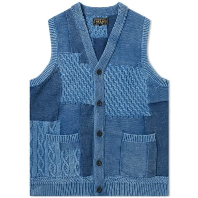 Beams Plus Cable Vest Indigo Yarn