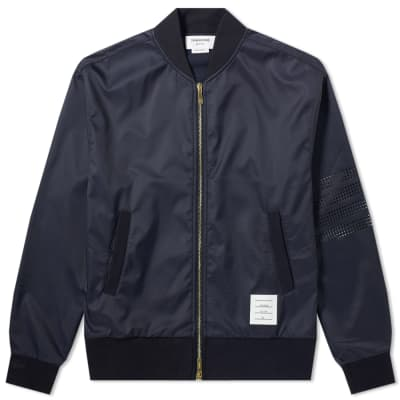 Thom Browne 4 Bar Ripstop Jersey Bomber Jacket