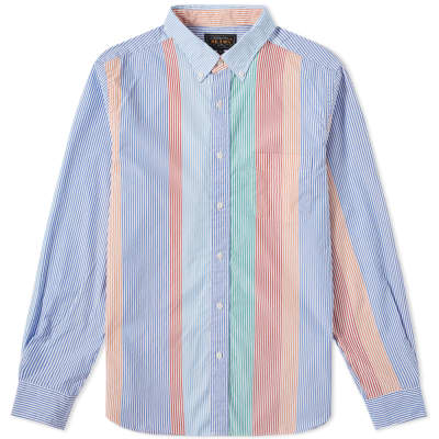 Beams Plus Button Down Wide Pitch Stripe Shirt