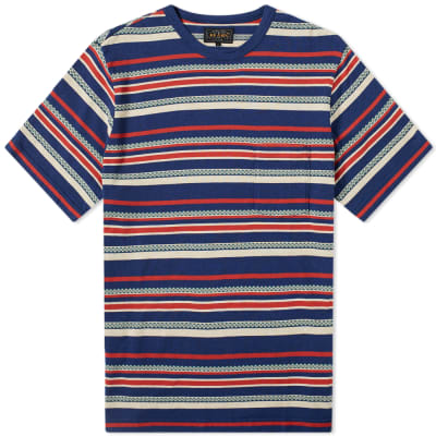 Beams Plus Jacquard Stripe Pocket Tee