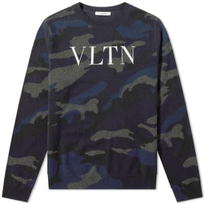 Valentino Camo VLTN Print Crew Knit