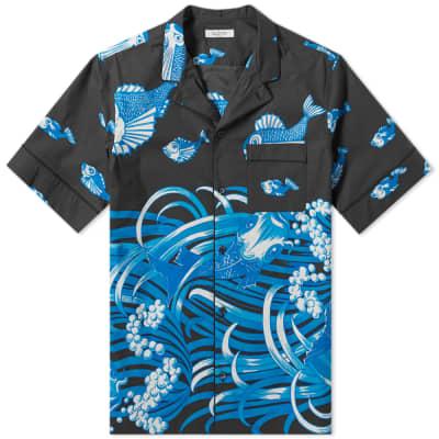 Valentino Fishrain Print Vacation Shirt