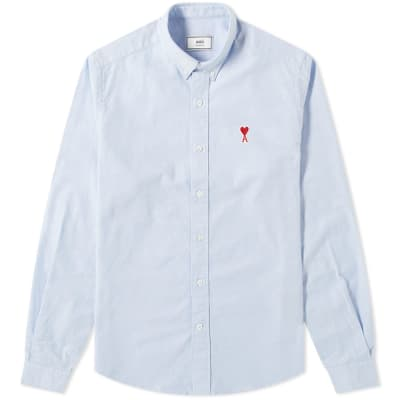 AMI Heart Logo Oxford Shirt