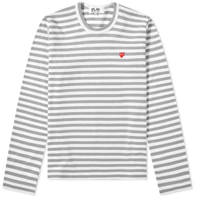 Comme des Garcons Play Women's Little Red Heart Long Sleeve Stripe Tee