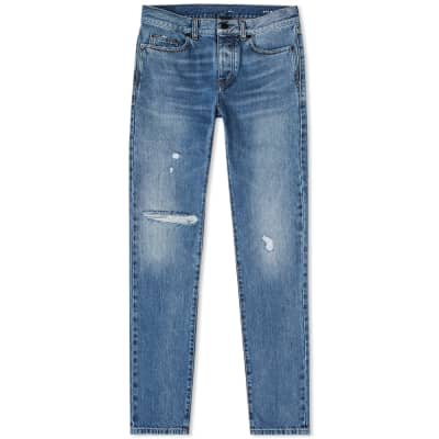 Saint Laurent Slim Fit Distressed Jean