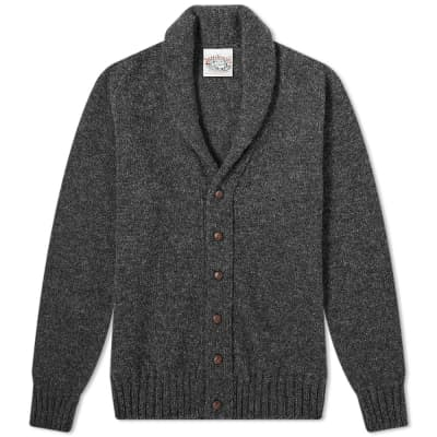 Jamieson's of Shetland Elbow Patch Shawl Collar Cardigan