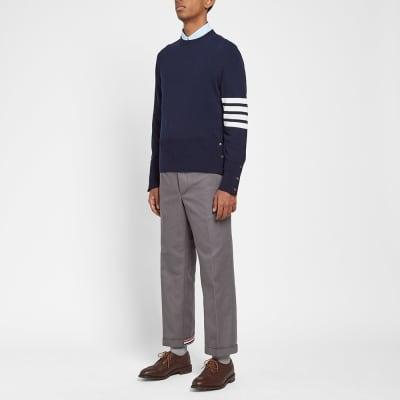 Thom Browne Arm Stripe Cashmere Crew Knit