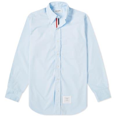 Thom Browne Grosgrain Placket Solid Poplin Shirt