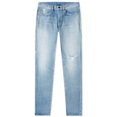 Saint Laurent Slim Fit Holes Jean