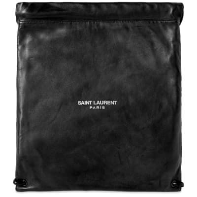 Saint Laurent Leather Drawstring Gym Bag