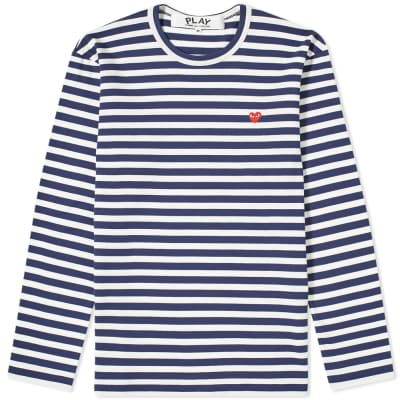Comme des Garcons Play Little Red Heart Long Sleeve Stripe Tee