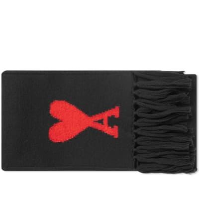 AMI Heart Intarsia Knit Scarf