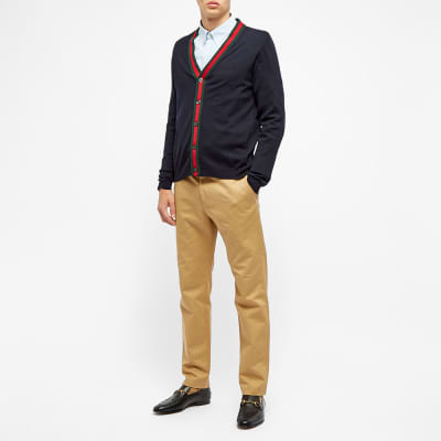 Gucci GRG Taped Low V-Neck Cardigan