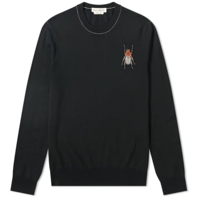 d490e026 Alexander McQueen Beetle Skull Logo Crew Knit ...