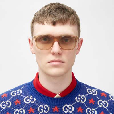 Gucci Cylindrical Web Square Frame Sunglasses
