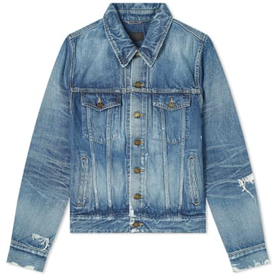 Saint Laurent Distressed Classic Denim Jacket