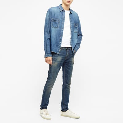 Saint Laurent Skinny Fit Raw Hem Jean
