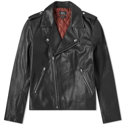 A.P.C. Perfecto Uno Leather Biker Jacket ... 37c702a39f13