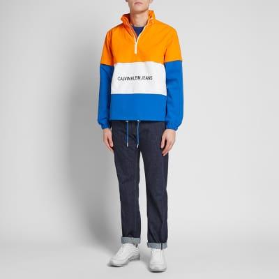 ... Calvin Klein Institutional Logo Nylon Popover Packaway Hood Sweat 4079ff4832