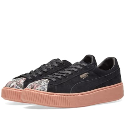 City Shoes Pum Platform Mid Damen Black Gum Textil Sneaker - 3 UK