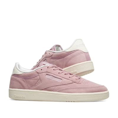 f7fc05d92f three quarter view of womens reebok club c 85 nubuck casual shoes in ...