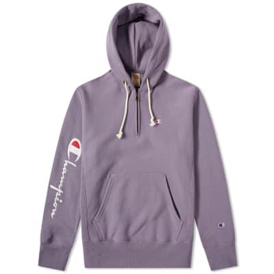 Champion Reverse Weave Logo Half Zip Hoody ... a85da6835d